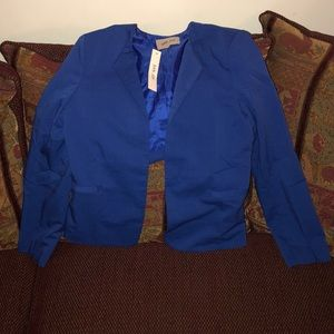 New! Women's Blue Casual Fitted Blazer Jacket
